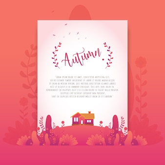 Red Autumn Floral Beautiful Gradient Flowers for Invitation Card