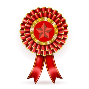 Red award label with ribbons.