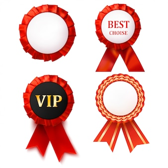 Red award ribbons badge with white.