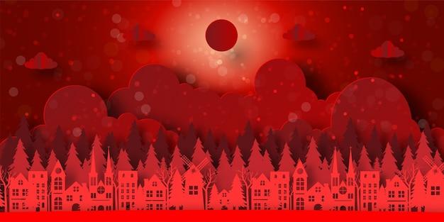 소나무 숲과 마을의 빨간색 배경 배너