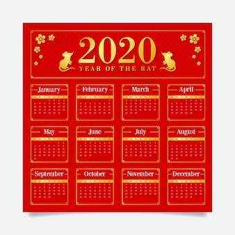 Red background calendar with golden symbols for chinese new year
