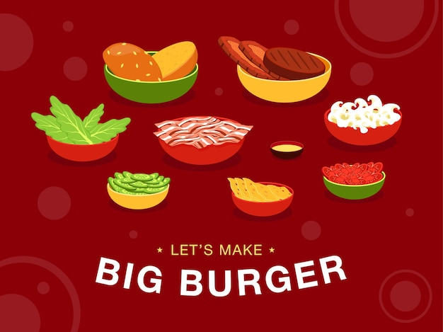 Red background design with burgers ingredients on bowls. let's make tasty fast food at home. cartoon illustration