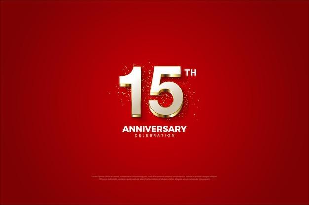 15 주년 기념 빨간색 배경에 금색으로 양각 된 흰색 숫자