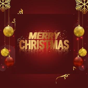 金色のボールとメリークリスマスの赤い背景