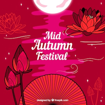赤い背景、中秋の祭り