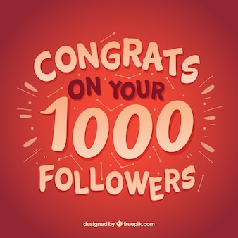 Red background of 1000 followers