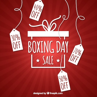 Red background of boxing day tags