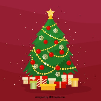 Red background of christmas tree with gifts