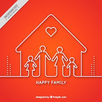 Red background of house with family