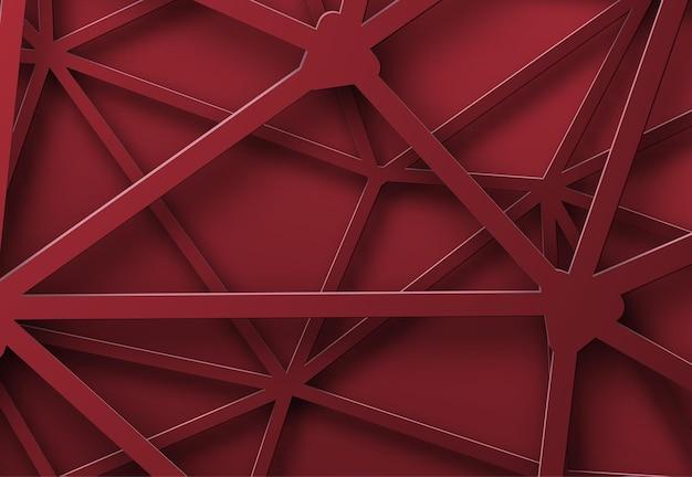교차점이있는 얽힌 선의 빨간색 배경입니다.
