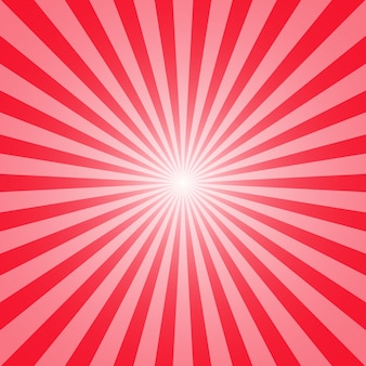 Red background of sun and rays for your design