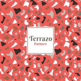 赤い背景のテラゾ装飾パターン