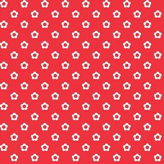 赤い背景、白い花のシームレスなパターン、生地のテクスチャ