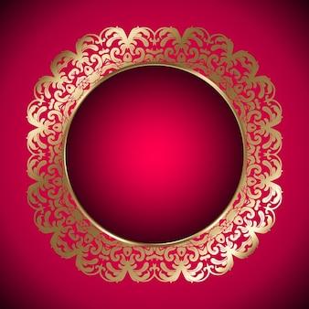 ゴールドフレームと赤の背景
