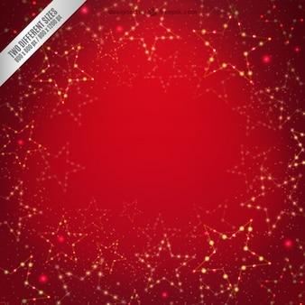 明るい星と赤の背景