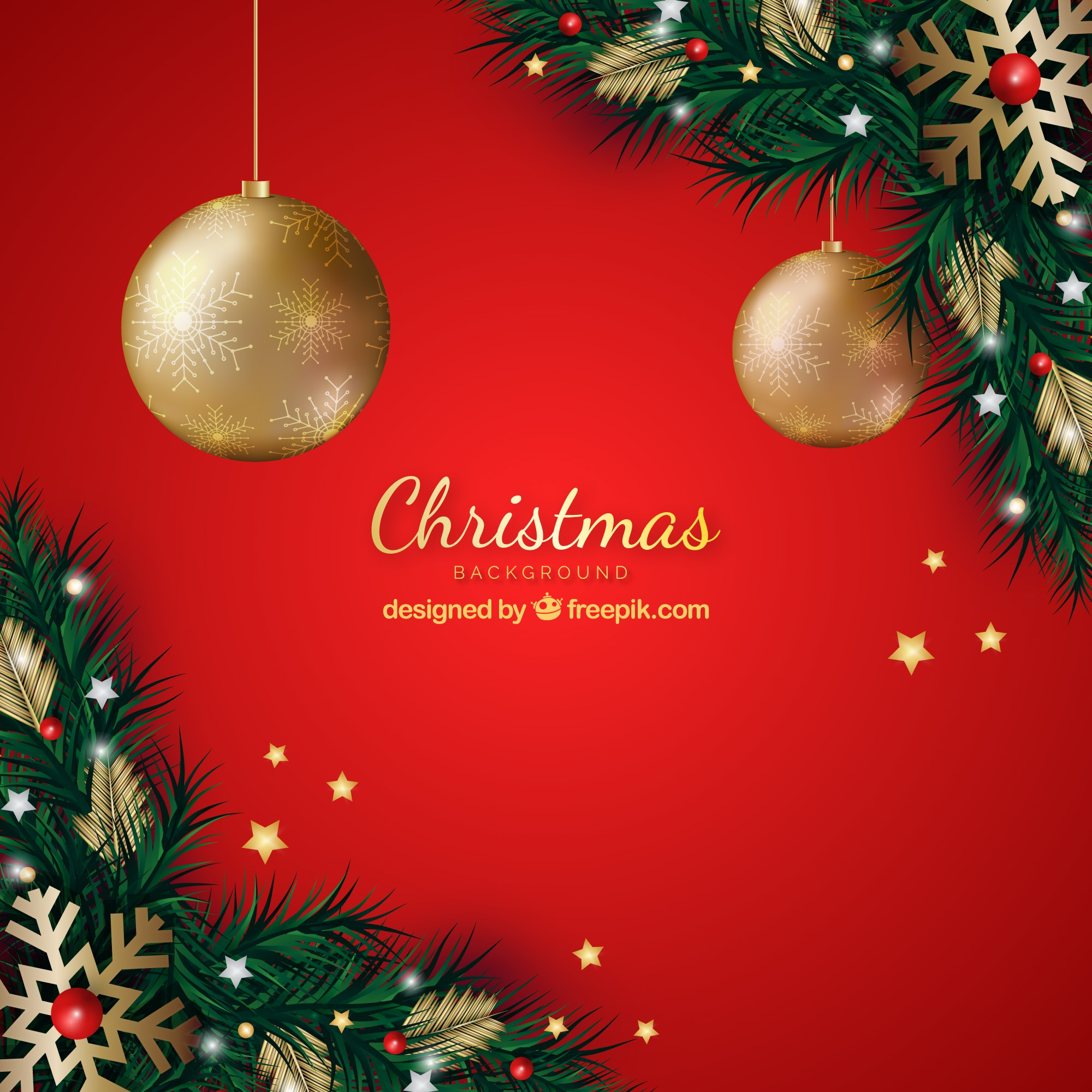 Red background with christmas decoration