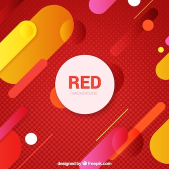 Red background with colored forms