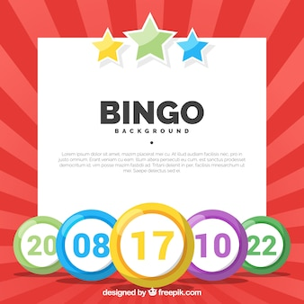 Red background with colorful bingo balls