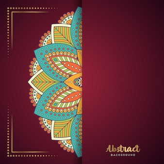 Red background with flower mandala