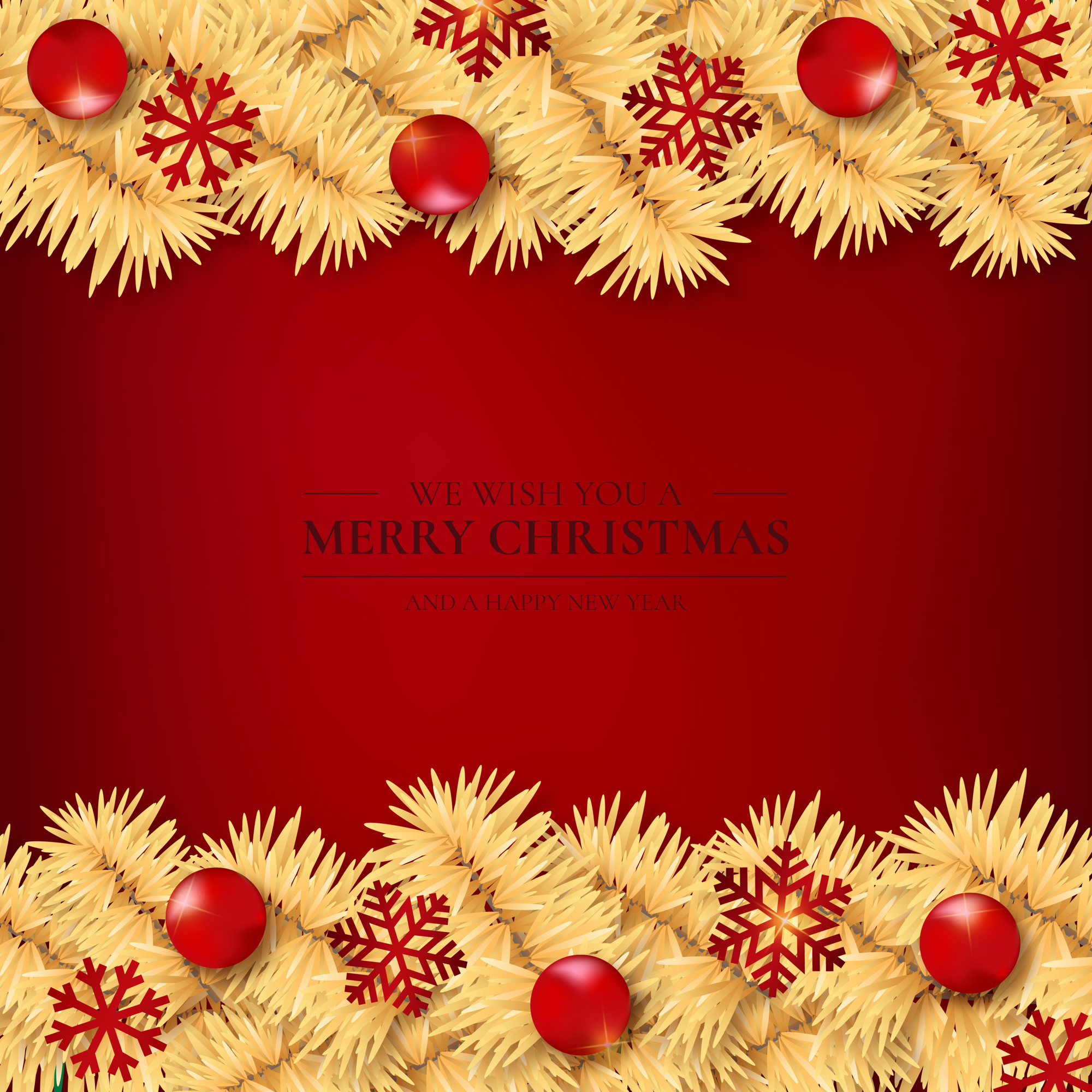 Red Background with Golden Christmas Tree Branches