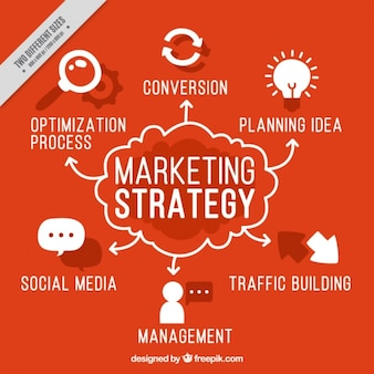 Red background with marketing strategy