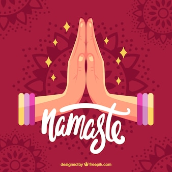 Red background with namaste greeting