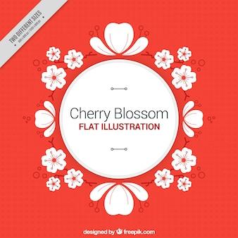 桜の飾りと赤い背景