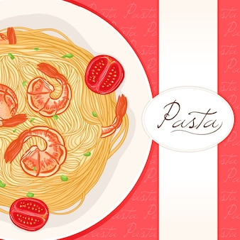 Red background with pasta