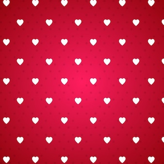 Red background with a pattern of white hearts