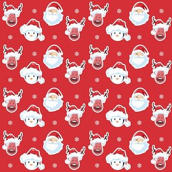 Красный фон с пингвинами санта-клаусом и рождественским оленем