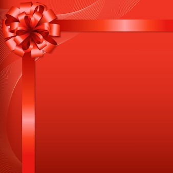 Red background with red bow with gradient mesh,