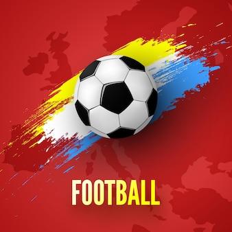 サッカーボールとカラフルなペイントストロークイラストと赤い背景