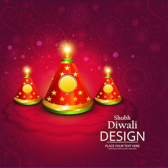 Red background with three candles to celebrate diwali