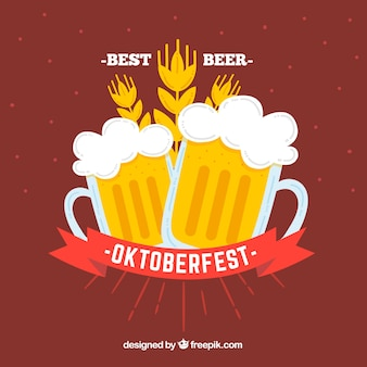 Red background with two beers for oktoberfest