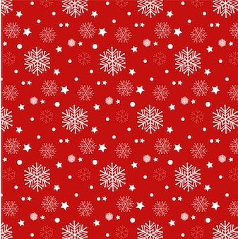 Красный фон с белыми снежинками