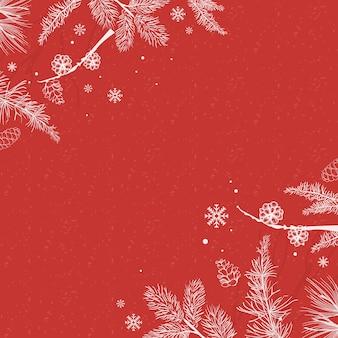 Красный фон с зимним орнаментом