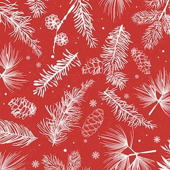 冬の装飾と赤い背景