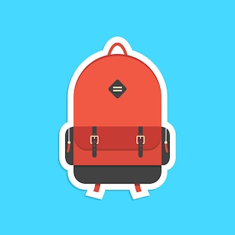 그림자와 함께 빨간 배낭 스티커입니다. 전 세계 여행, 학교 교육, 힙스터, 여행 및 여행의 개념. 파란색 배경에 고립. 평면 스타일 유행 현대 로고 디자인 벡터 일러스트 레이 션