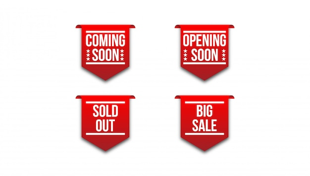 Red badge ribbon coming soon, opening soon, sold out, big sale.