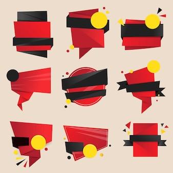 빨간 배지 스티커, 빈 벡터 클립 아트 디자인 공간 세트