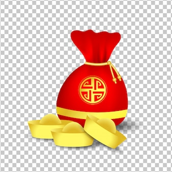 Red bag for chinese new year and golden coins isolated