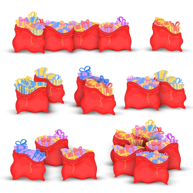 Red bags with miscellaneous christmas gifts. cute christmas bags of santa claus boxes