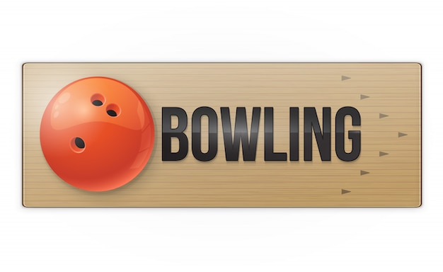 Red ball on the alley for bowling game