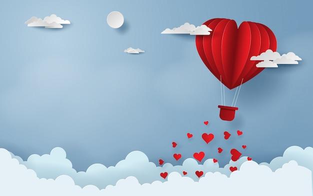 하늘에 빨간 풍선 해피 발렌타인 데이
