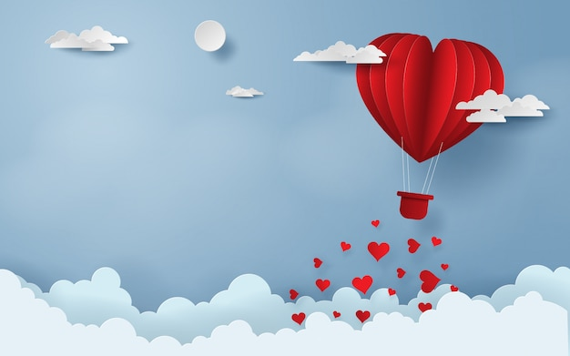 Red balloon flying on the sky happy valentine's day