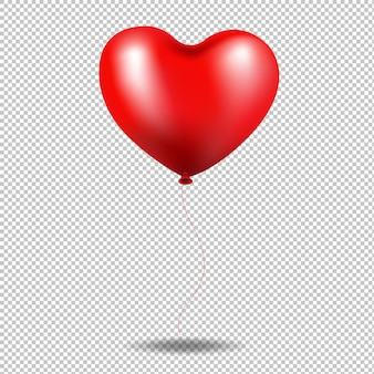Red balloon heart in transparent background illustration