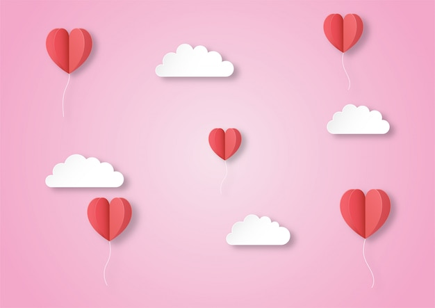 Red balloon hearts flying in the air with clouds paper art style background.