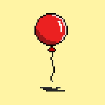 Red balloon with pixel art style