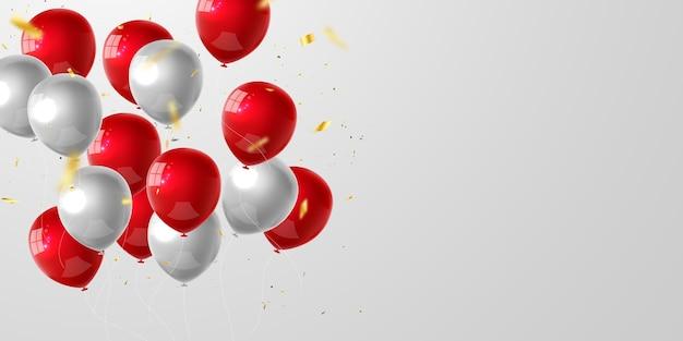 赤い風船、紙吹雪のコンセプトデザイン国家主権と子供の日の七面鳥の挨拶の背景。お祝い 。