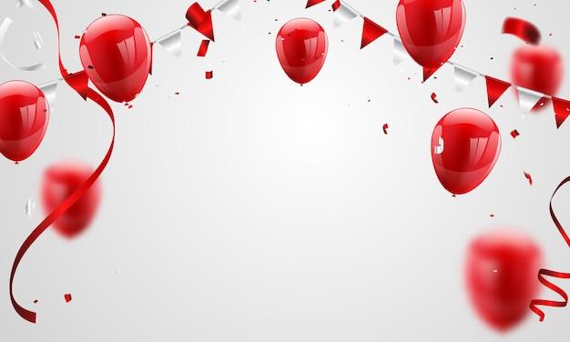 Red balloons confetti concept design